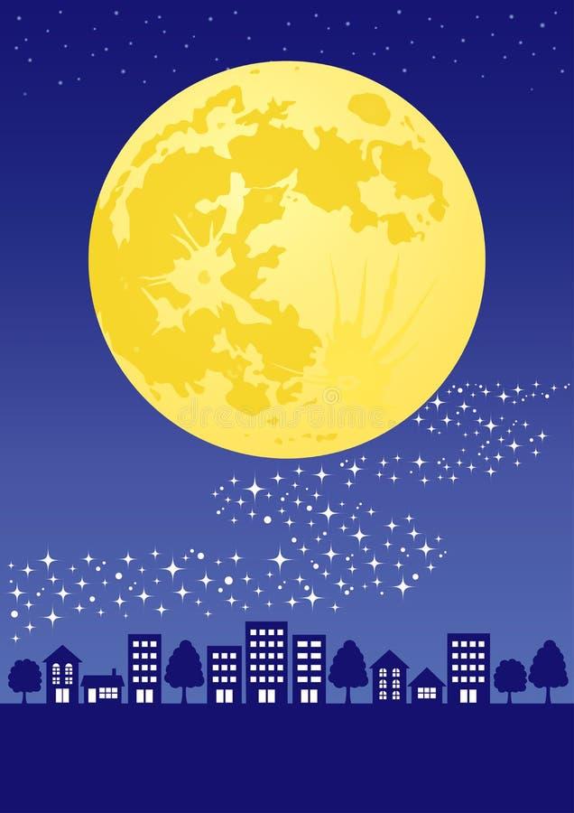 Ciudad de la noche con la Luna Llena y la vía láctea stock de ilustración