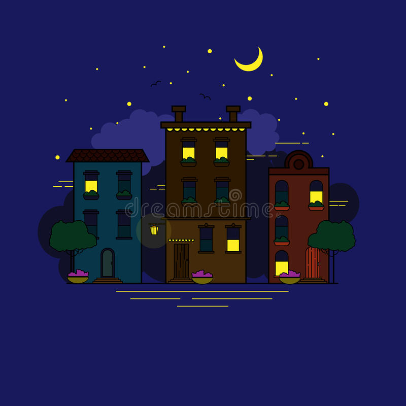Ciudad de la noche en estilo plano stock de ilustración