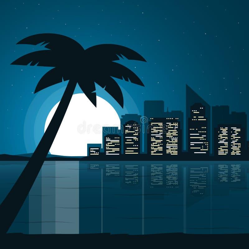 Ciudad de la noche Paisaje urbano de la noche en estilo plano Opinión de la ciudad en la noche Ilustración del vector ilustración del vector