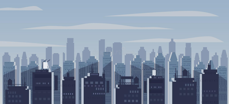 Ciudad de la noche, rascacielos, siluetas de las casas, panorama, horizonte, humor Paisaje urbano oscuro Vector, ejemplo, aislado ilustración del vector