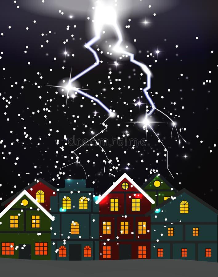 Ciudad de la noche, ventisca El relámpago pegó el tejado de nubes riesgo ilustración del vector