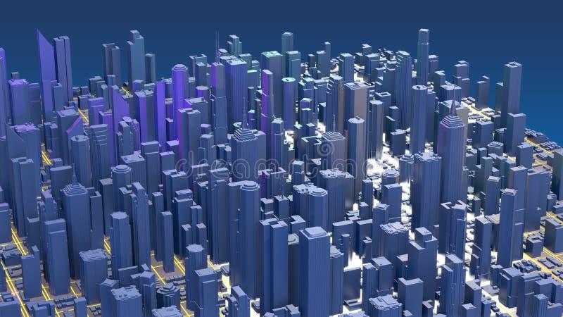 Ciudad de la representaci?n de Digitaces 3d Los rastros ligeros simbolizan los datos que viajan en ciudad moderna fotografía de archivo libre de regalías