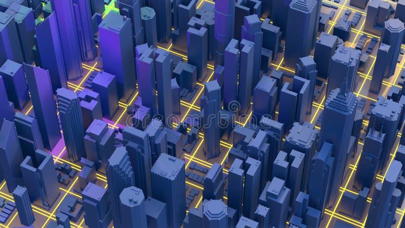 Ciudad de la representaci?n de Digitaces 3d Los rastros ligeros simbolizan los datos que viajan en ciudad moderna fotos de archivo