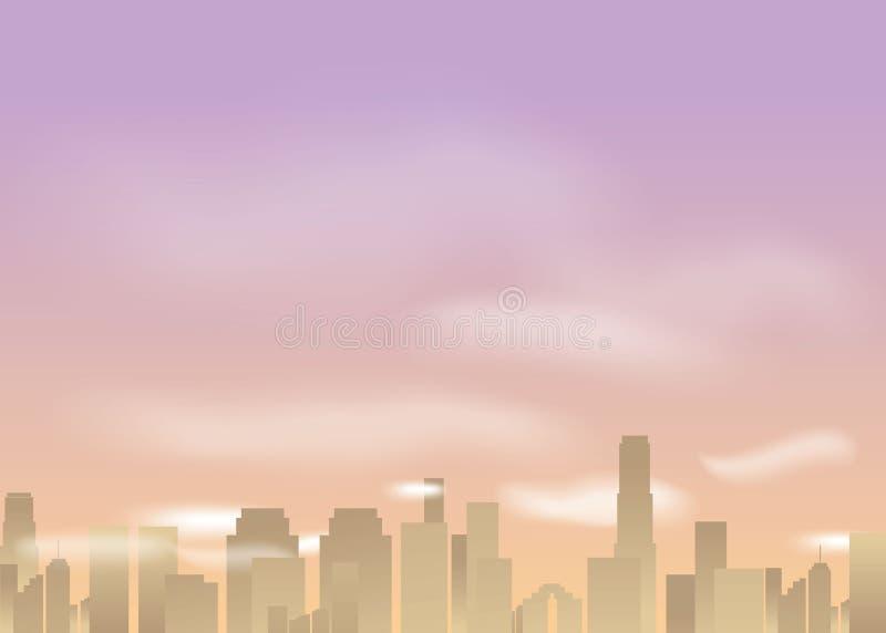 Ciudad de la subida de Sun, ejemplo del vector de la historieta para la web e impresión libre illustration