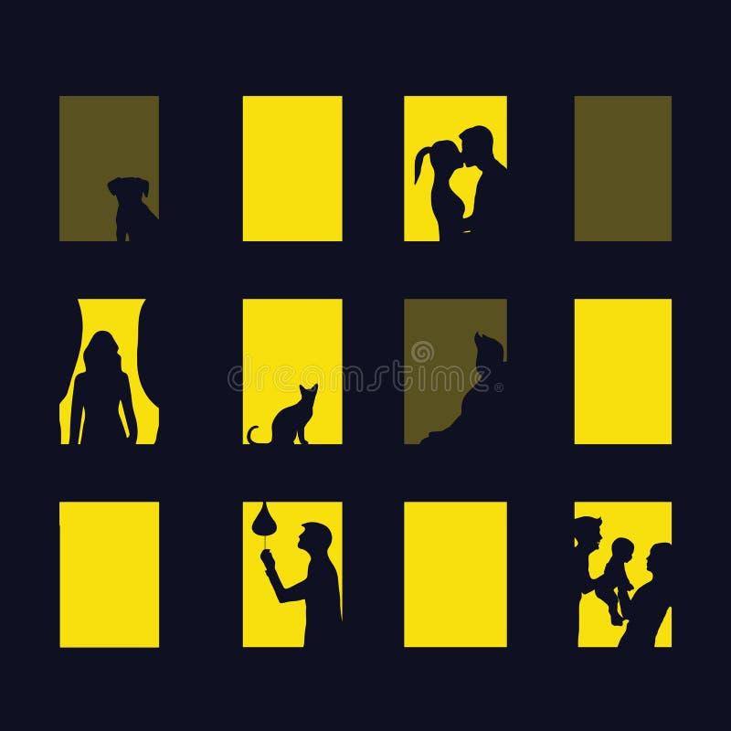 Ciudad de la ventana en la noche Ejemplo del vector de bloques de apartamentos con las ventanas ilustración del vector