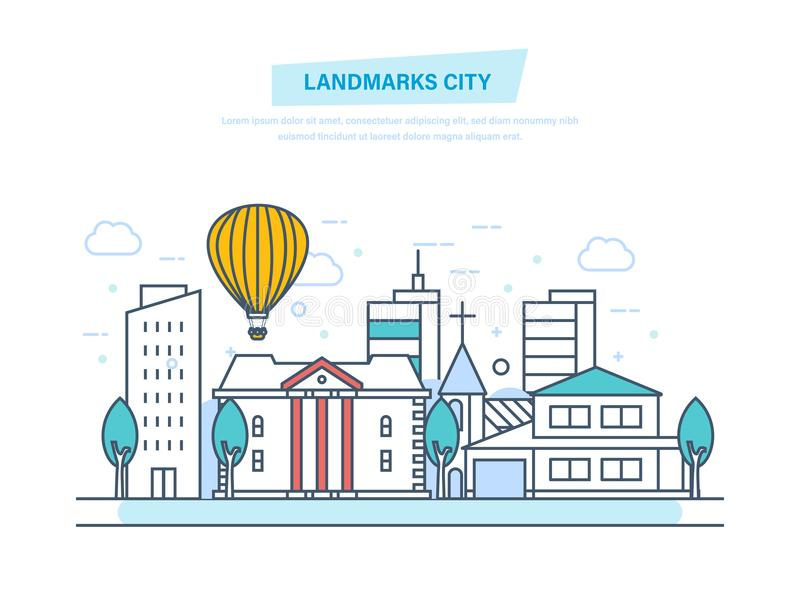 Ciudad de las señales, vistas, monumentos, edificios Calle de la ciudad, parque que camina de la reconstrucción ilustración del vector
