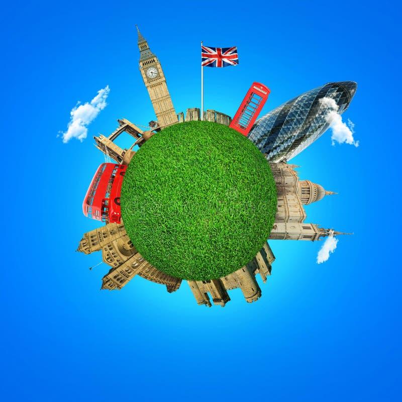 Ciudad de Londres Atracciones de Inglaterra Autobús rojo, planeta verde imágenes de archivo libres de regalías