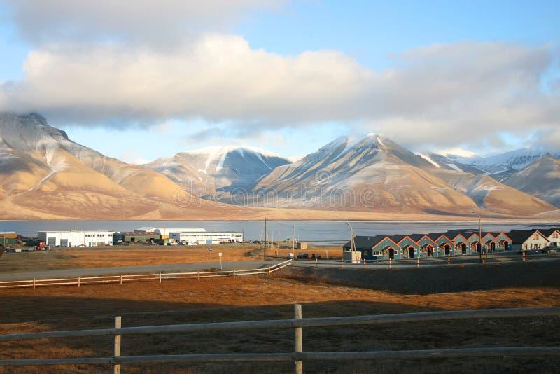 Ciudad de Longyear en Svalbard, no foto de archivo libre de regalías