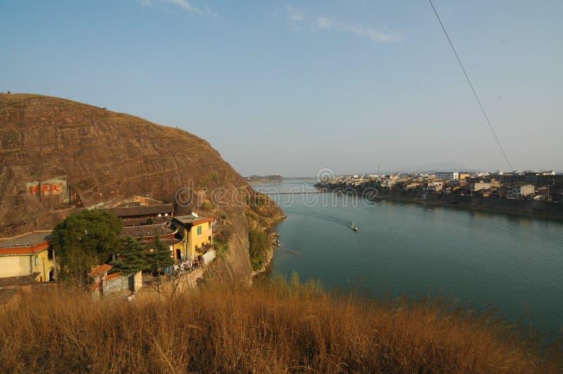 Ciudad de los riverbanks-Hekou foto de archivo