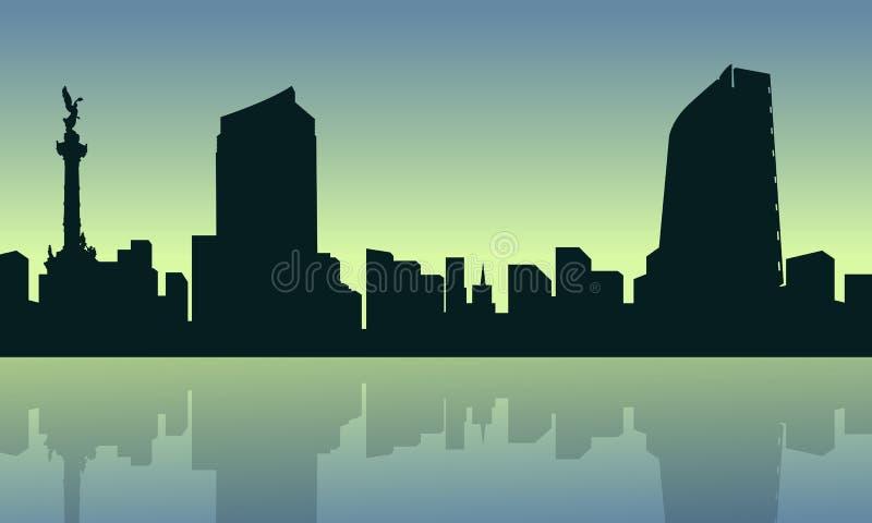Ciudad de México con la colección del paisaje de la reflexión ilustración del vector