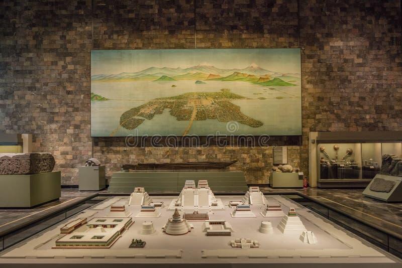 CIUDAD DE MÉXICO - 1 DE AGOSTO DE 2016: Modelo de la ciudad antigua dentro del interior del Museo Nacional de la antropología en  imagen de archivo