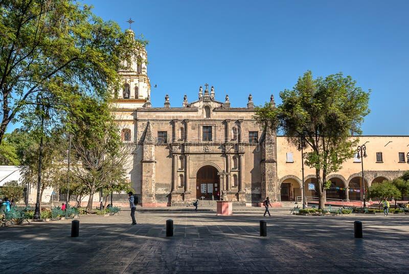 Ciudad de México, San Juan Bautista Parish en Coyoacan, México imagen de archivo