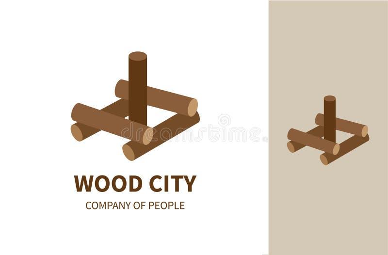 Ciudad de madera ilustración del vector