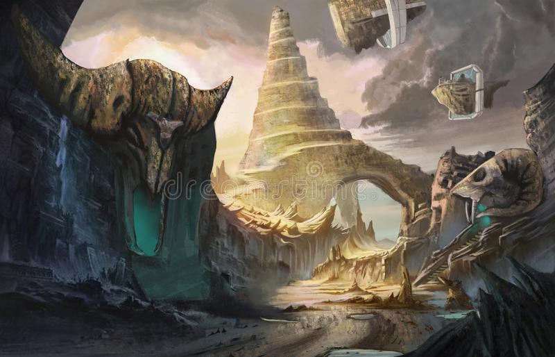 Ciudad de mages stock de ilustración