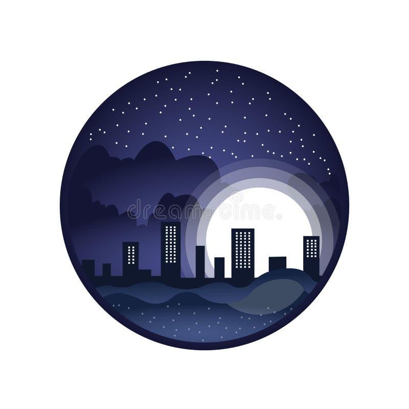 Ciudad de medianoche, ciudad de la noche, diseño del logotipo en un círculo libre illustration
