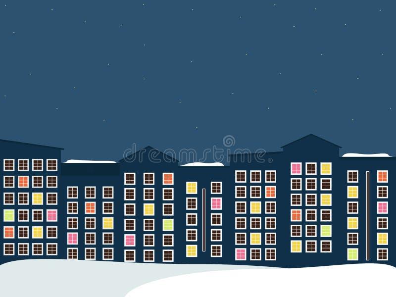 Ciudad de medianoche, Real Estate, tema del invierno stock de ilustración