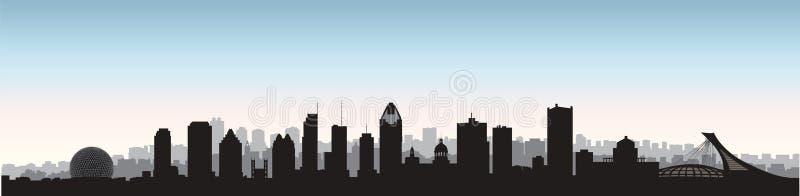 Ciudad de Montreal, horizonte de Canadá Silueta panorámica del paisaje urbano con los edificios famosos Señales canadienses ilustración del vector