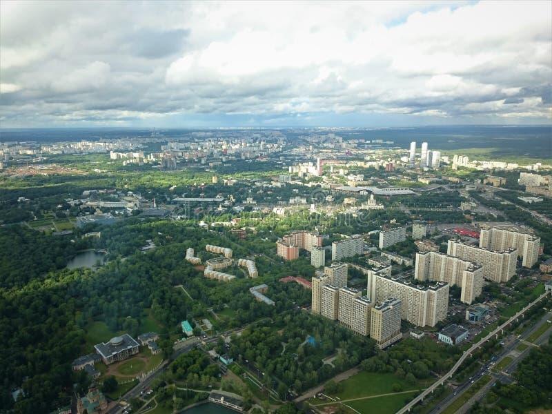 Ciudad de Moscú Visión desde la torre de Ostankino en el otoño imagenes de archivo