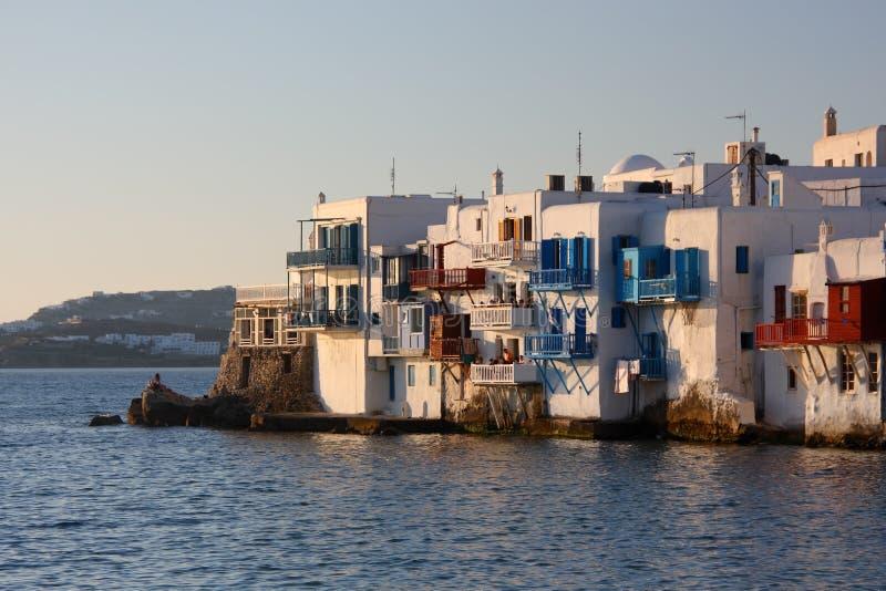 Ciudad de Mykonos en la última hora de la tarde imágenes de archivo libres de regalías