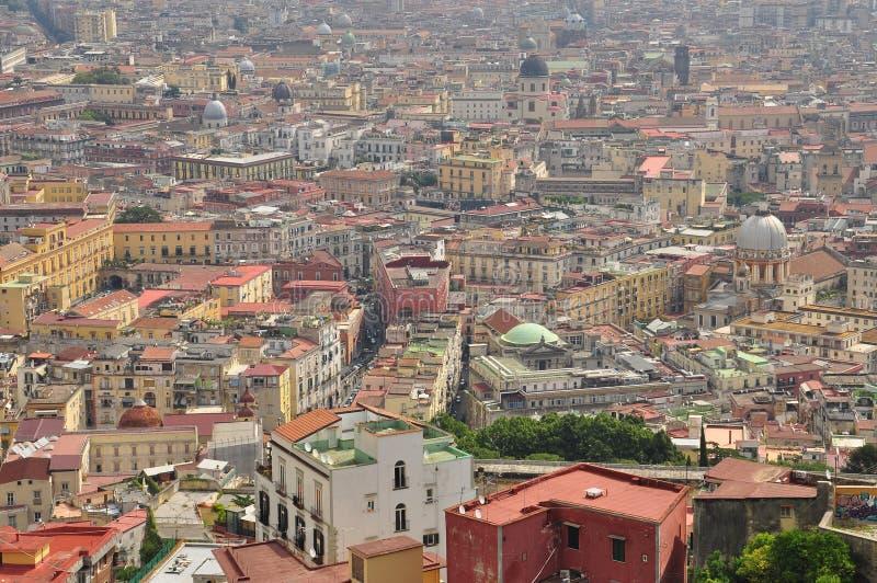 Ciudad de Nápoles, vista aérea del centro de ciudad imagen de archivo libre de regalías