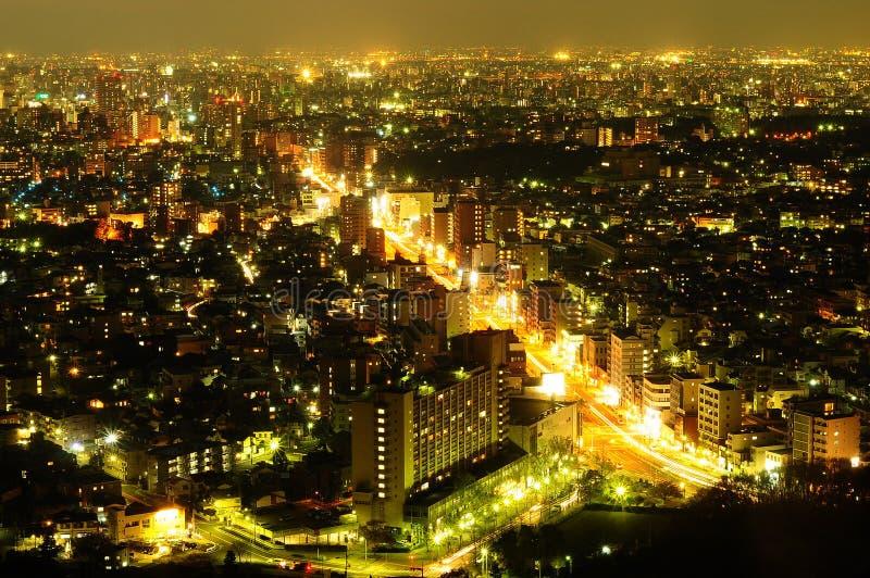 Ciudad de Nagoya en la noche imágenes de archivo libres de regalías