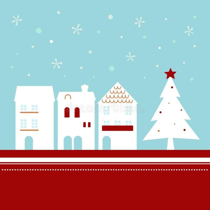 Ciudad de Navidad en nevar ilustración del vector