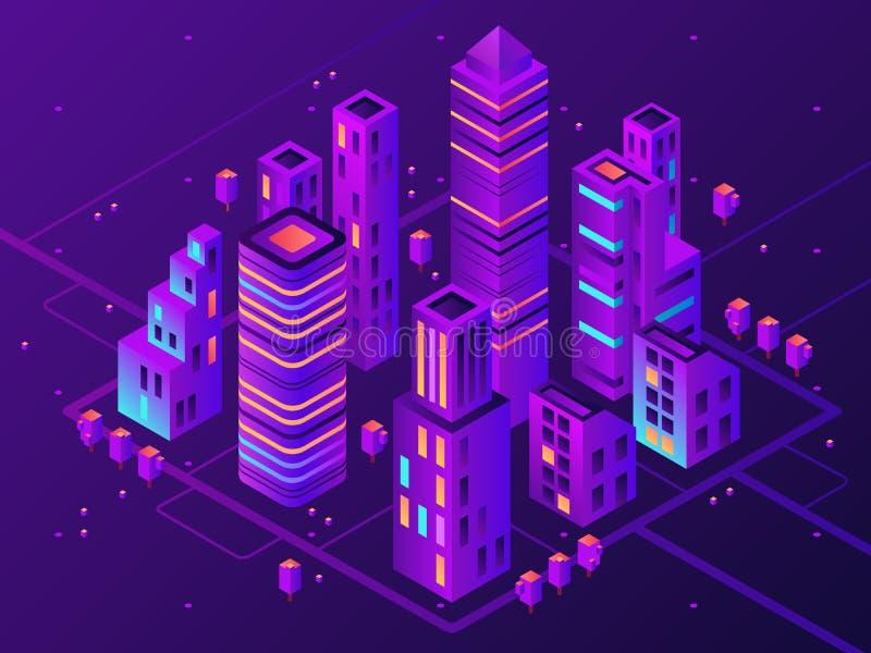 Ciudad de neón isométrica Ciudad iluminada futurista, iluminación futura de la carretera de los megapolis y vector del distrito f stock de ilustración