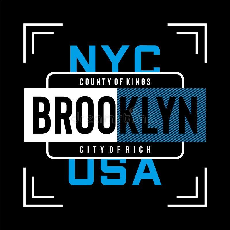 Ciudad de Nueva York Brooklyn de la camiseta rica del diseño de la tipografía stock de ilustración
