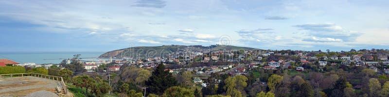 Ciudad de Oamaru, puerto y panorama de los suburbios, Nueva Zelanda imágenes de archivo libres de regalías