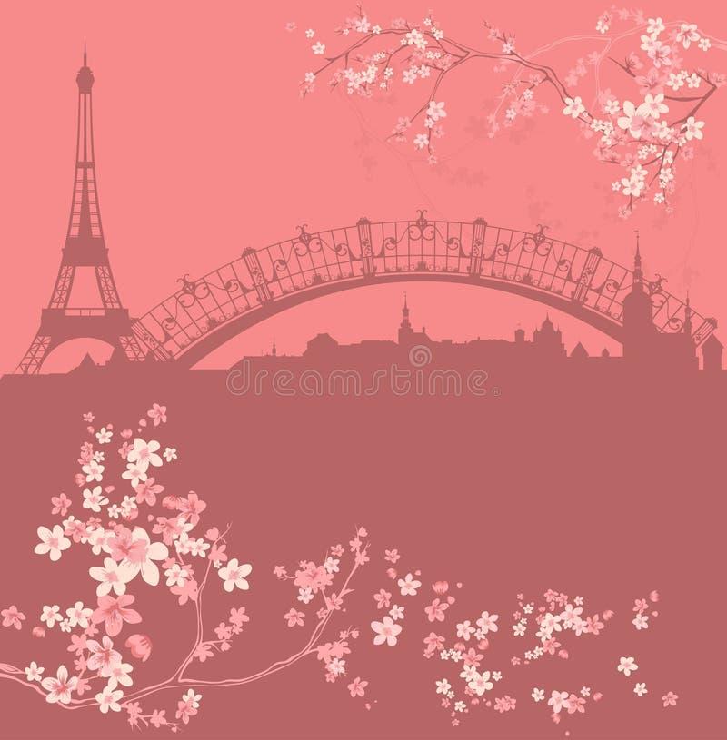 Ciudad de París de la primavera entre vector floreciente de las flores stock de ilustración