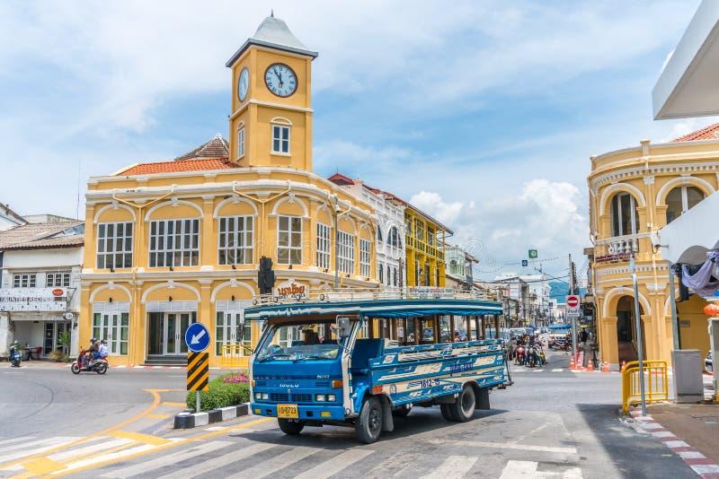 Ciudad de Phuket, Tailandia: Ciudad vieja de Phuket con los edificios viejos en estilo chinoportugués fotos de archivo