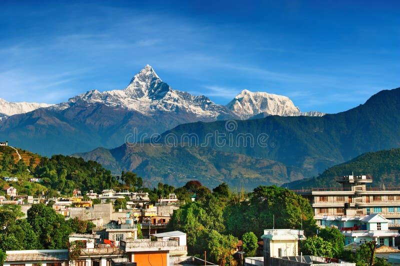 Ciudad de Pokhara, Nepal foto de archivo