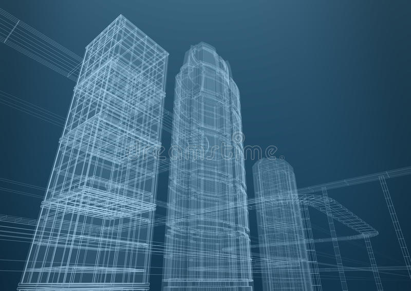 Ciudad de rascacielos en dimensiones de una variable, concepto ilustración del vector