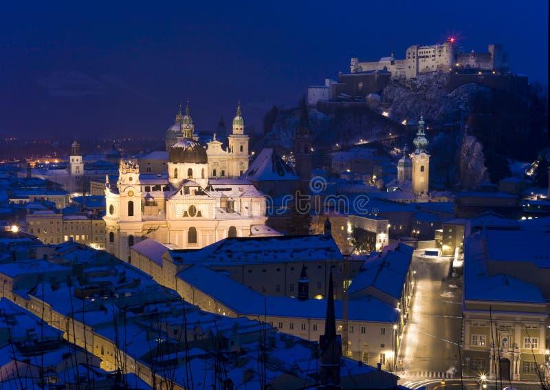Ciudad de Salzburg en invierno imagen de archivo libre de regalías