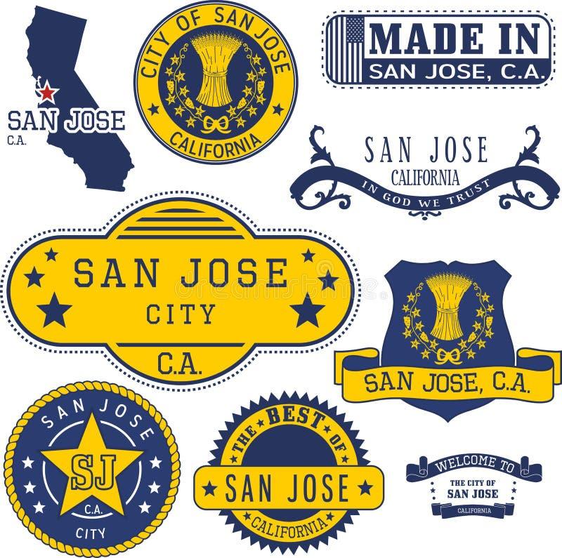 Ciudad de San Jose, CA, sellos genéricos y muestras stock de ilustración