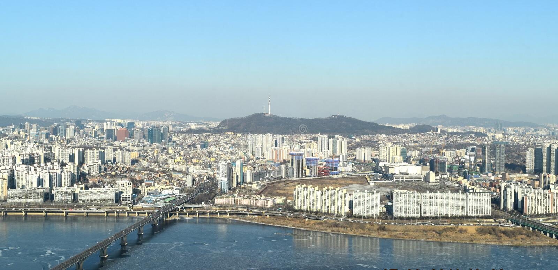 Ciudad de Seul a partir del 63 que construyen foto de archivo libre de regalías