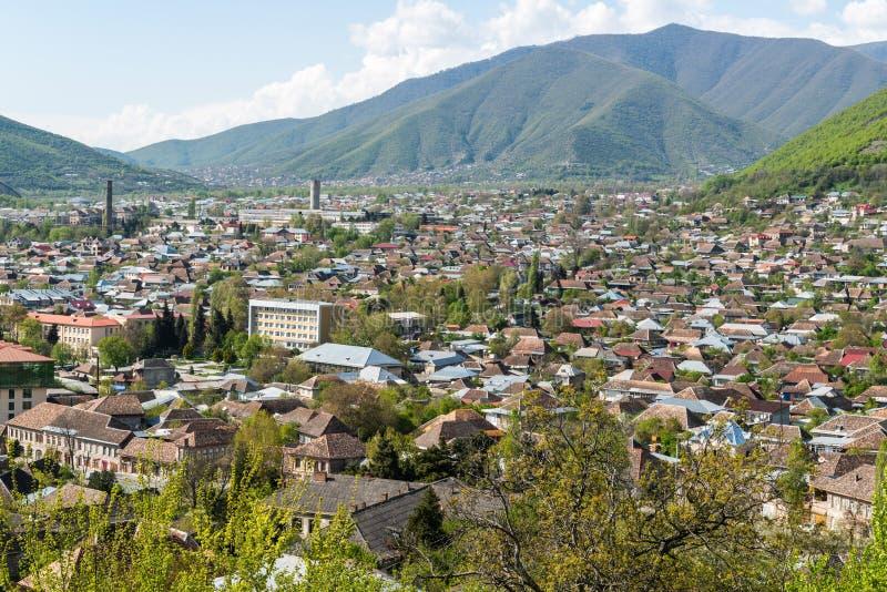Ciudad de Sheki en Azerbaijan fotografía de archivo