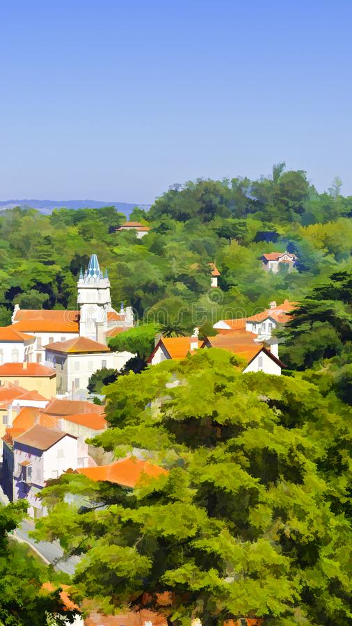 Ciudad de Sintra ilustración del vector