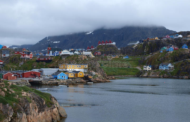 Ciudad de Sisimiut, Groenlandia. fotografía de archivo