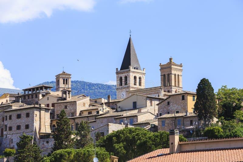 Ciudad de Spello en Umbría, Italia imagen de archivo