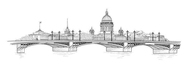 Ciudad de St Petersburg, Rusia Horizonte de la catedral del ` s del St Isaac Señal del edificio, puente ilustración del vector