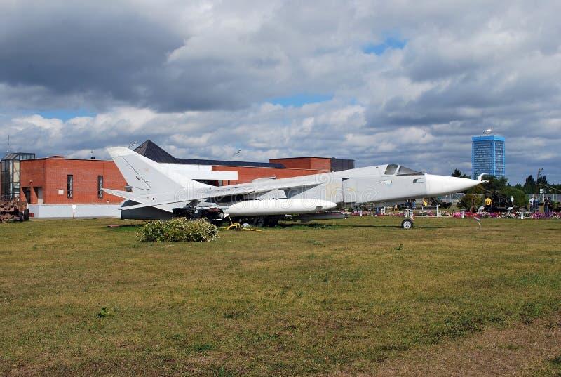Ciudad de Togliatti Museo técnico de K g sakharov Objeto expuesto del bombardero táctico del frente SU-24 del museo fotos de archivo libres de regalías