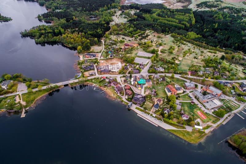 Ciudad de Trakai, visión aérea imagen de archivo libre de regalías