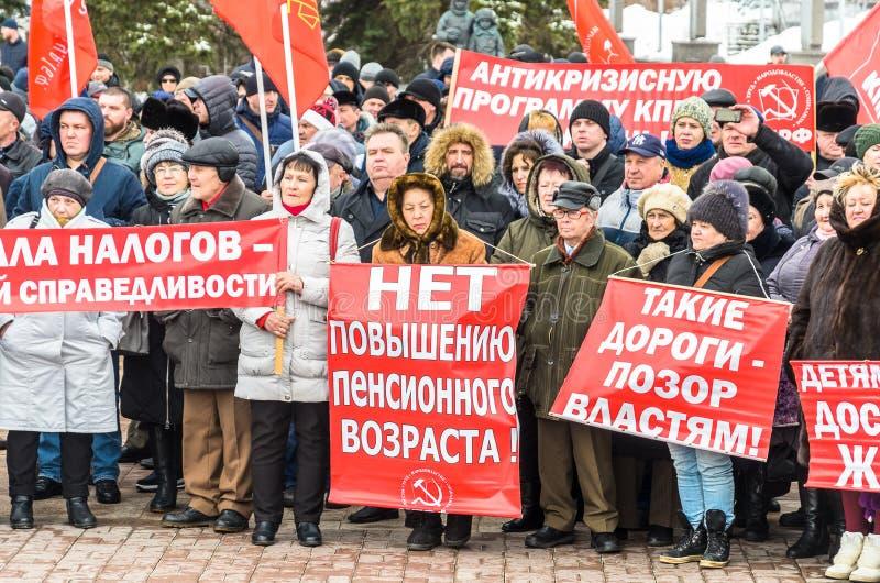 Ciudad de Ulyanovsk, Rusia, march23, 2019, una reuni?n de comunistas contra la reforma del gobierno ruso foto de archivo