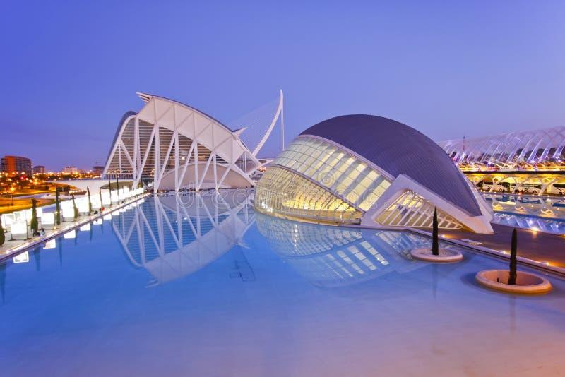 Ciudad de Valencia de artes y del museo de ciencia fotos de archivo