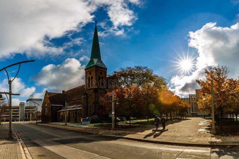 Ciudad de Windsor, una opinión del centro de la ciudad, Ontario, Canadá de la calle imagen de archivo