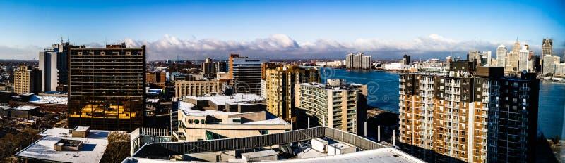 Ciudad de Windsor, una opinión del centro de la ciudad, Ontario, Canadá del panorama fotos de archivo libres de regalías