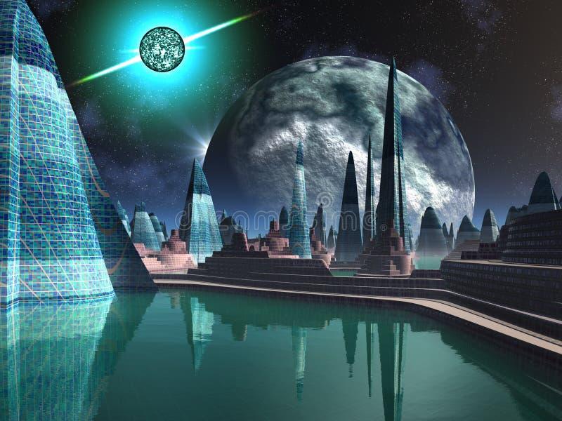 Ciudad del cuasar ilustración del vector