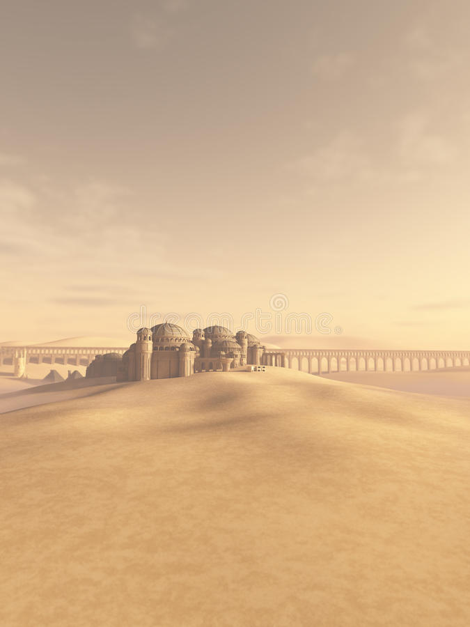 Ciudad del desierto tragada por la arena ilustración del vector