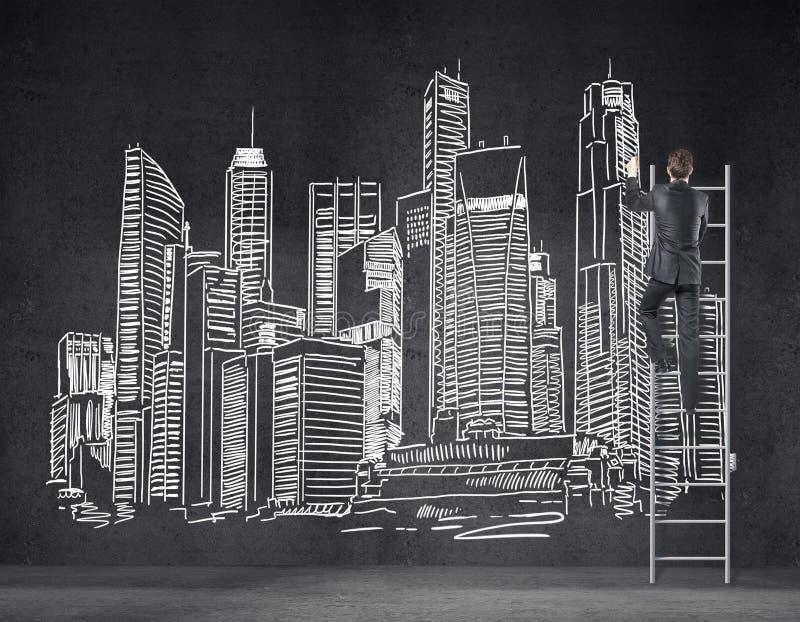 Ciudad del dibujo del hombre de negocios foto de archivo libre de regalías